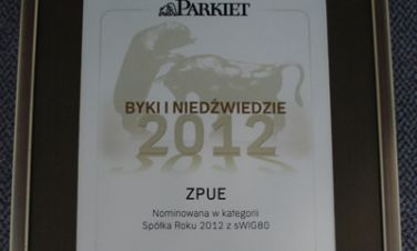 """Parkiet przyznał """"Byki i Niedźwiedzie"""" ZPUE S.A. nominowane do nagrody w kategorii"""