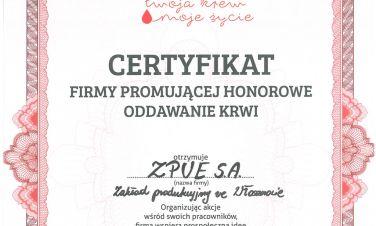 ZPUE z certyfikatem Centrum Krwiodawstwa