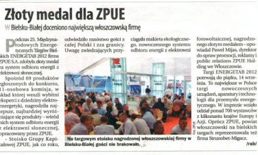 Złoty medal dla ZPUE S.A. Informacja w prasie